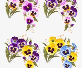 Colorful pansies vector