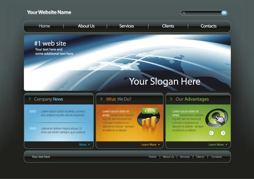 Company website template design vector material