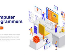 Computer programmers isometric concept template vector