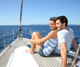 Couple on the yacht Stock Photo