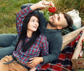 Couple outdoor outing Stock Photo