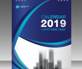 Cover Calendar 2019 year vector tempalte 01