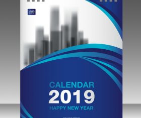 Cover Calendar 2019 year vector tempalte 02