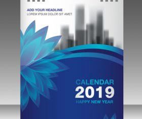 Cover Calendar 2019 year vector tempalte 04