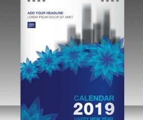 Cover Calendar 2019 year vector tempalte 05