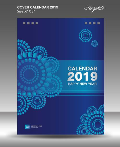 Cover Calendar 2019 Year Vector Tempalte 07 Free Download