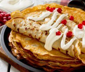 Creamy fruit pancakes Stock Photo