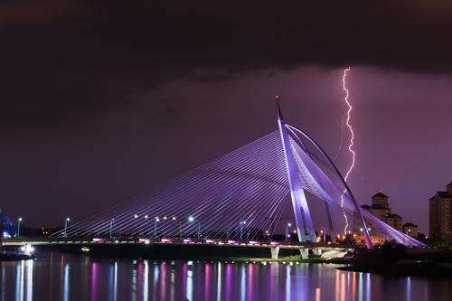 Cumulonimbus and lightning over the city Stock Photo 07