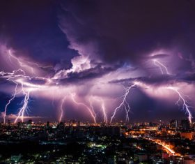 Cumulonimbus and lightning over the city Stock Photo 08