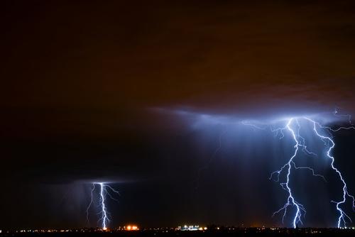 Cumulonimbus and lightning over the city Stock Photo 09