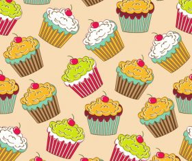 Cupcake seamless pattern vectors