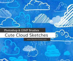 Cute Cloud Sketches Photoshop Brushes