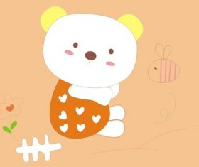 Cute cartoon bear and baby bee vector