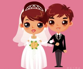 Cute cartoon wedding character vector