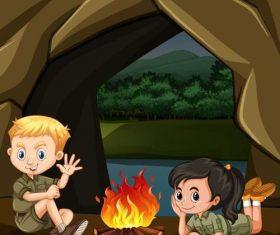 Cute kids with camping cartoon vector