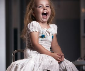 Cute little girl happy laughing Stock Photo