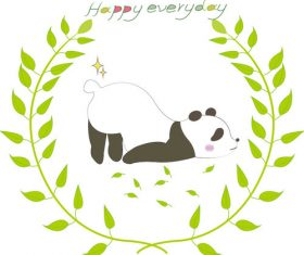 Cute panda lying on the ground vector