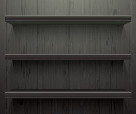 Dark wood background shelves vector