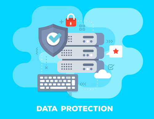 Data protection business flat template vector