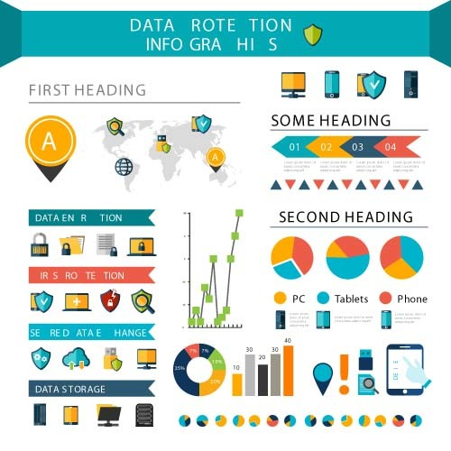 Data rotetion infographic template vector