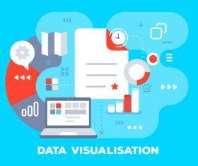 Data visualisation business flat template vector
