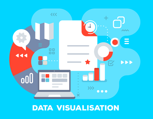 Data visualisation business flat template vector