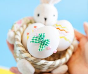 Decorative beautiful Easter eggs Stock Photo