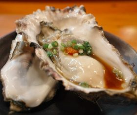 Delicious steamed oysters Stock Photo