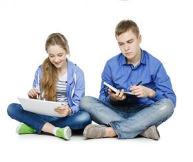 Different ways of learning for boys and girls Stock Photo 01