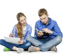 Different ways of learning for boys and girls Stock Photo 02