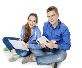 Different ways of learning for boys and girls Stock Photo 03