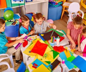 Doing handmade children Stock Photo 03