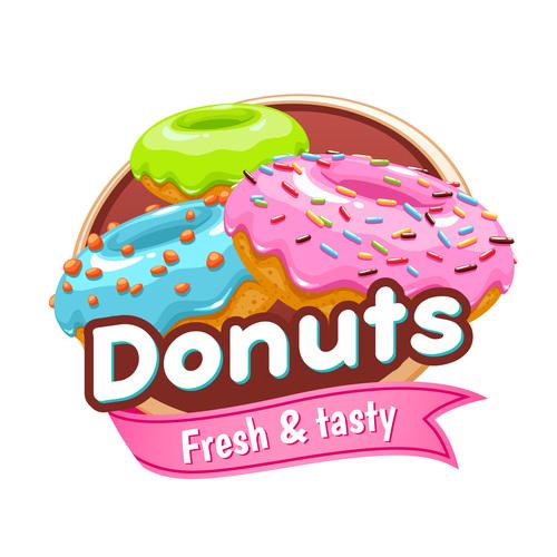 Donuts labels vectors 02
