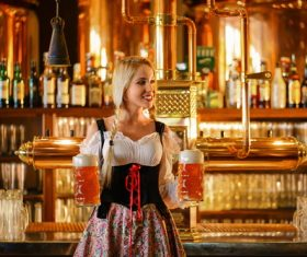 Dressed in national costumes smiling waitress bar Stock Photo