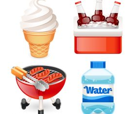 Drink with ice cream and hotdog vector