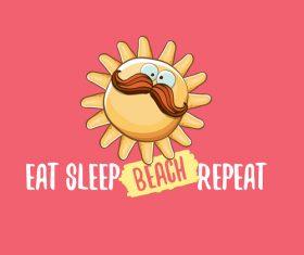 Eat sleep beach summer poster template vector 01