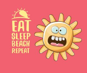 Eat sleep beach summer poster template vector 02