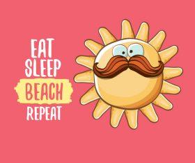 Eat sleep beach summer poster template vector 03
