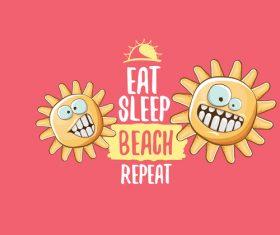 Eat sleep beach summer poster template vector 04