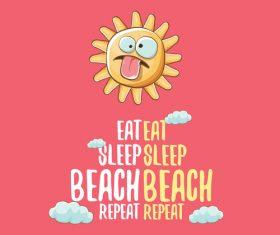 Eat sleep beach summer poster template vector 05