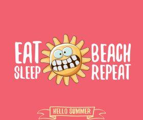 Eat sleep beach summer poster template vector 06