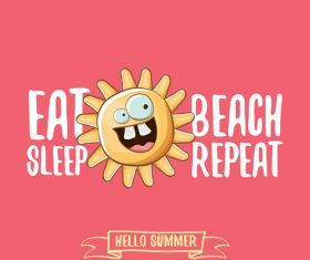Eat sleep beach summer poster template vector 07