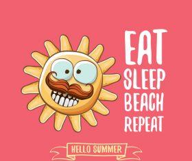 Eat sleep beach summer poster template vector 08