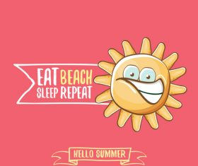 Eat sleep beach summer poster template vector 09
