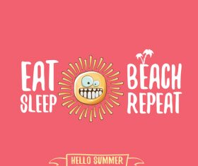 Eat sleep beach summer poster template vector 10