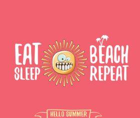 Eat sleep beach summer poster template vector 10