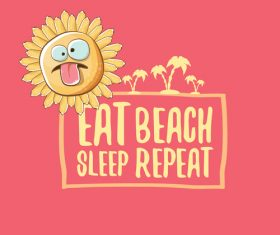 Eat sleep beach summer poster template vector 11