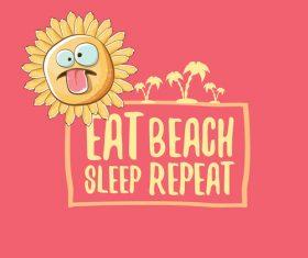 Eat sleep beach summer poster template vector 11