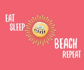 Eat sleep beach summer poster template vector 12