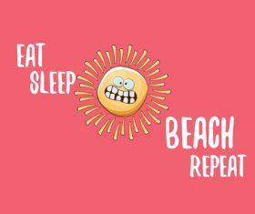 Eat sleep beach summer poster template vector 12